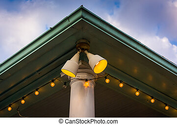 Lights outside a shop in St Michaels, Maryland