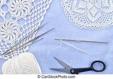 Crochet set. Crochet thread, doily, scissors and hooks. -...