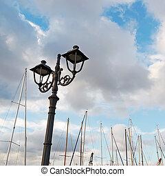 metal streetlamp by the dock