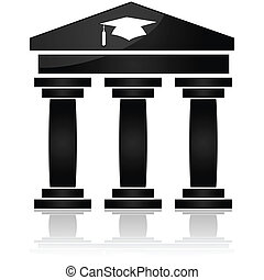 Higher education - Icon showing a traditional style...