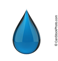 Blue drop - Blue cleaner drop isolated with clipping path