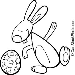 funny Easter bunny coloring page - Black and White Cartoon...