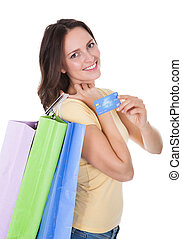 Woman With Shopping Bags Holding Credit Card
