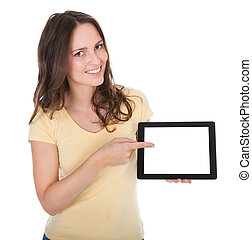 Smiling Woman Holding Digital Tablet - Portrait Of Smiling...