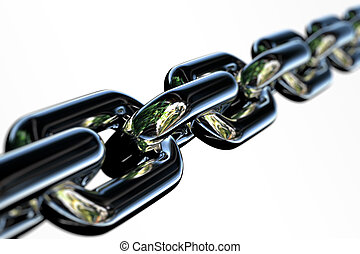 Chrome Chain - Closeup of a few links of a chrome chain with...