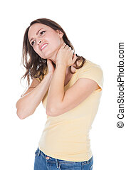 Woman Suffering From Neck Pain - Young Woman With Pain In...