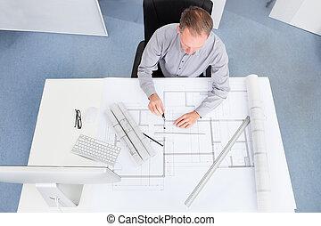 arquitecto, dibujo, en, cianotipo