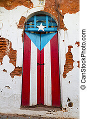 Puerto Rican door - obsolete wooden door with Puerto Rican...