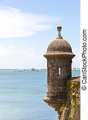 sentry box - Historic Spanish lookout tower by San Juan Bay...
