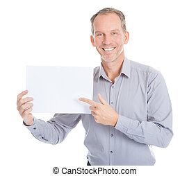 Businessman Holding Placard - Portrait Of Mature Businessman...