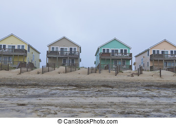 Colorful Cape Hattera Beach Houses - Row of colorful Cape...