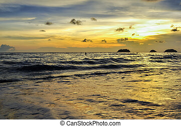 Koh Chang beach with tilted coconut tree, Thailand