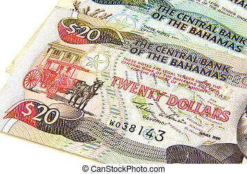 Bahamian Dollars - Foreign dollar bills from the Bahamas,...