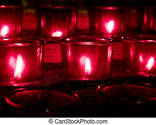 Red Candles - View of some red candles in a church