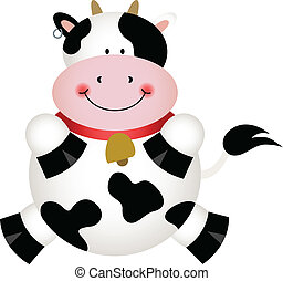 Cute Black and White Cow - Scalable vectorial image...