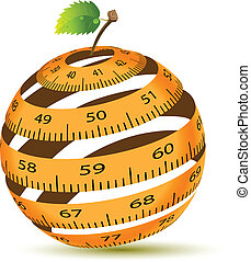 Apple and measuring tape - Abstract Illustration of a...