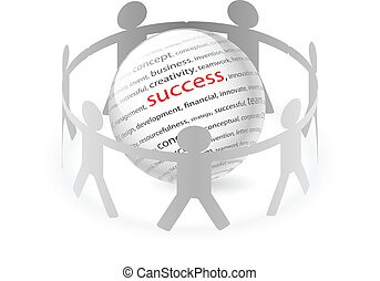 People and succes - Illustration of paper people around...