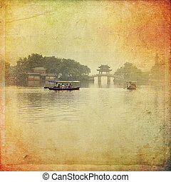 Hangzhou, China - The beautiful view of Hangzhou, China