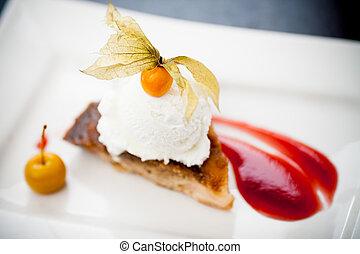 Apple tarte tatin - Warm apple tarte tatin with vanilla ice...