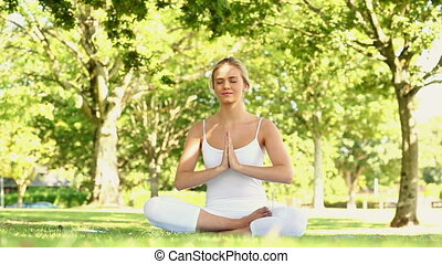 Content blonde doing yoga in the park on a sunny day