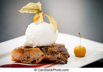 Apple tarte tatin - Warm apple tarte tatin with vanilla ice...