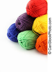 Six woolen skeins. - Six different colors of wool skeins...