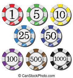 casino chips - Casino chips on a white background. Gradient...