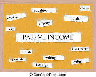 Passive Income Corkboard Word Concept with great terms such...