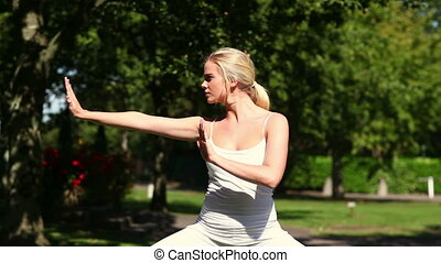 Pretty blonde doing tai chi in the park on a sunny day