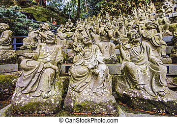 Monk Statues - Statues of monks at Nanzoin Temple in...