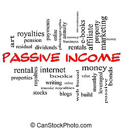 Passive Income Word Cloud Concept in red caps with great...