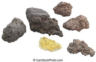 Volcanic rocks - Three volcanic stones isolated on white...