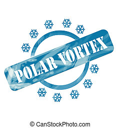 Blue Weathered Polar Vortex Stamp Circle and Snowflakes...