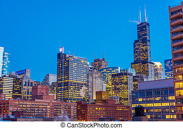 Chicago Night View - View of downtown Chicago taken during...