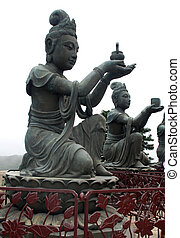 Buddhist Statues on Lantau island Hong Kong - Buddhist...