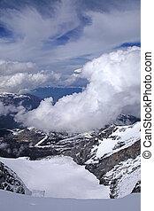 alpi, neve,  Jungfrau, svizzero, coperto, vista