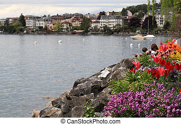 flowers and Lake Geneva, Montreux, Switzerland. - A...