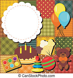 patchwork background with toys and balloons