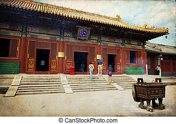 Beijing, Lama temple - Beautiful view of the Lama temple in...