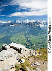 Mountain ridge Eiger, M�nch and Jungfrau - View from...