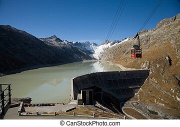 Lake Oberaar - Reservoir in the Grimsel area for generating...
