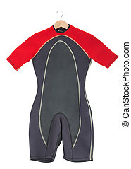 Red wetsuit for surfing. On a white background.