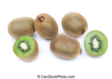 Kiwi fruit of delicious group. In the section on a white background.