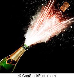 champaña, botella, voladura, fuego, aislado, negro,...