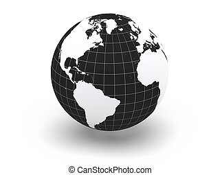 Globe. Earth and world map. 3d - Globe. 3d. Elements of this...