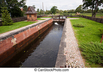 The lock on the canal Mazury
