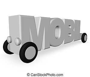 mobil - the word mobil on wheels on white background - 3d...