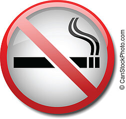 sign no smoking 2d on white background