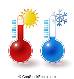 thermometers hot cold set - red, blue thermometers, hot sun,...