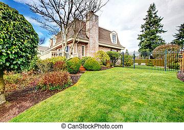 Beautiful fenced backyard garden